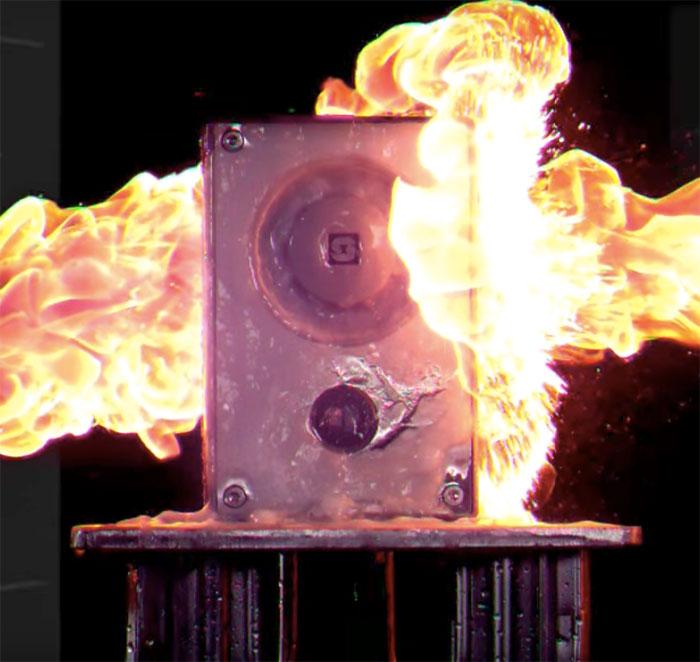 Turbine series intercom undergoing fire test
