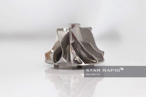3D printed metal rotor, partially polished, at Star Rapid