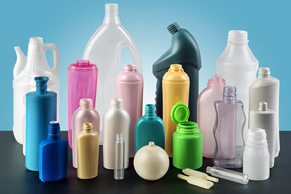 Image of various plastic bottles made via extrusion molding
