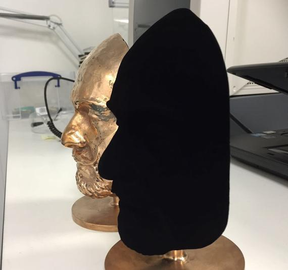 Picture of profile painted with Vantablack