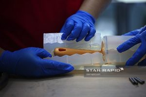 Vacuum cast prototype mold being opened at Star Rapid