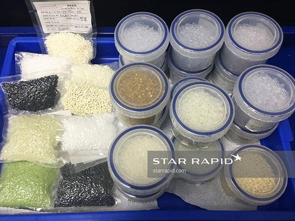 Plastic raw material samples in storage at Star Rapid