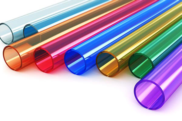 Samples of multi-colored clear acrylic tubes