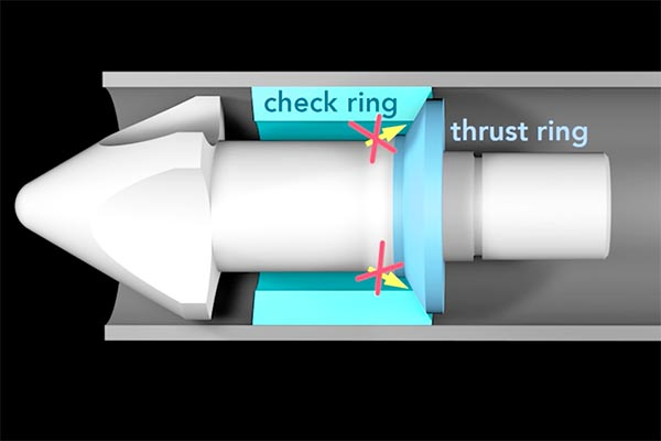 Graphic image showing the check ring and nozzle of a plastic injection molding machine
