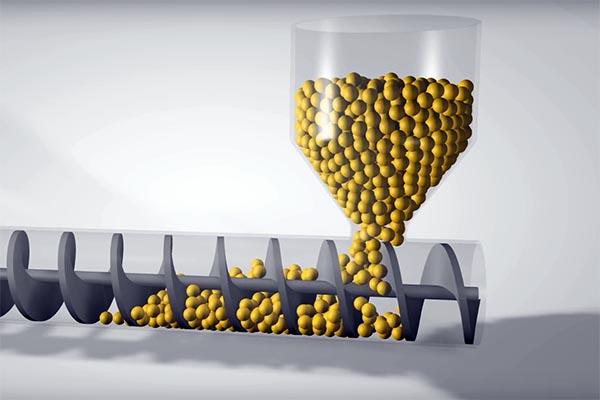 3D illustration showing plastic pellets entering the barrel of a plastic injection molding machine