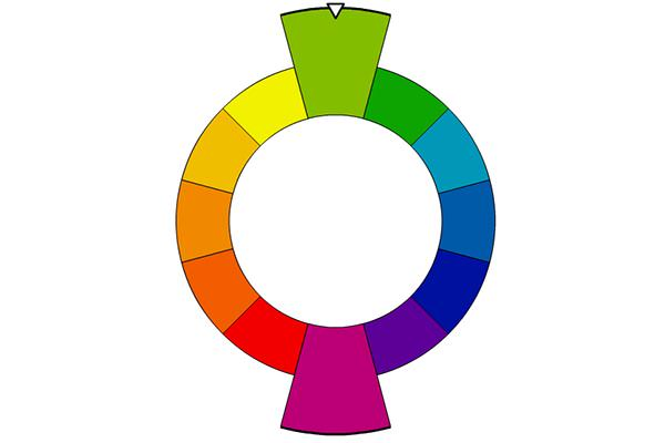 Color wheel showing complementary colors