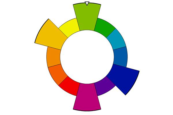 Color wheel showing rectangular color family