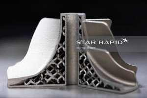 Cutaway view of 3D metal printed rotor with internal lattice at Star Rapid