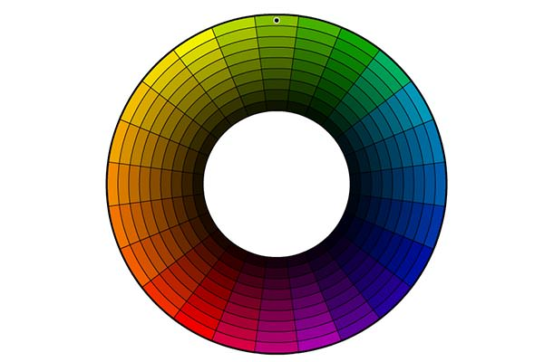 Color wheel showing shade