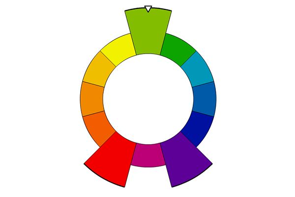 Color wheel showing split complementary colors