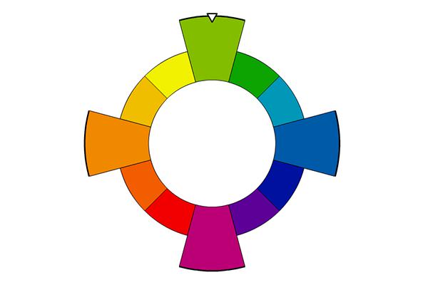 Color wheel showing square color family