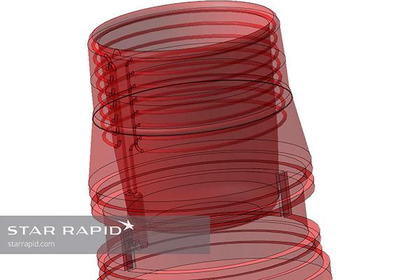 CAD image of conformal cooling mold design