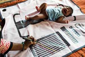 Indian child being measured on ASHA mat