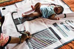 Indian child being measured on ASHA mat