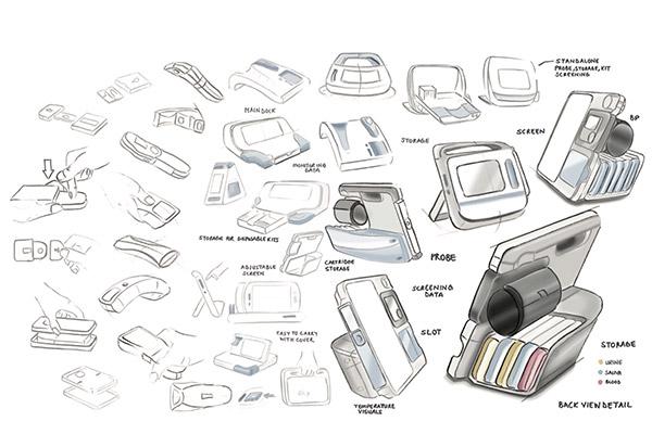 Design sketches for Blink home medical tester