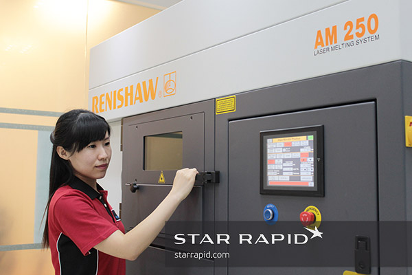 Chloe Kow at Star Rapid running an AM 250 Renishaw metal printer
