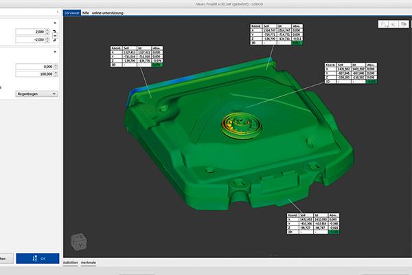 Screen capture of colin3D measurement software