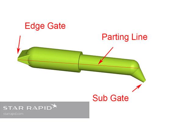 CAD illustration of plastic injection molding sub gate