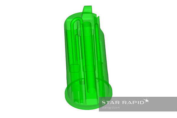 Star Rapid's design for a 3D printed conformally cooled core for plastic injection molding.
