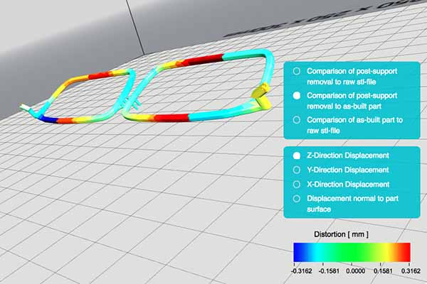 CAD model showing heat-effected zones in 3D metal printing