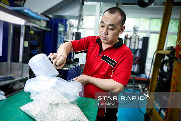 Mixing plastic pellets at Star Rapid