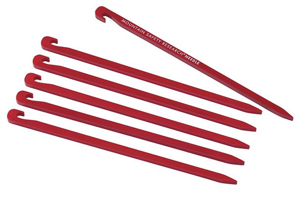 Red MSR needle tent stakes