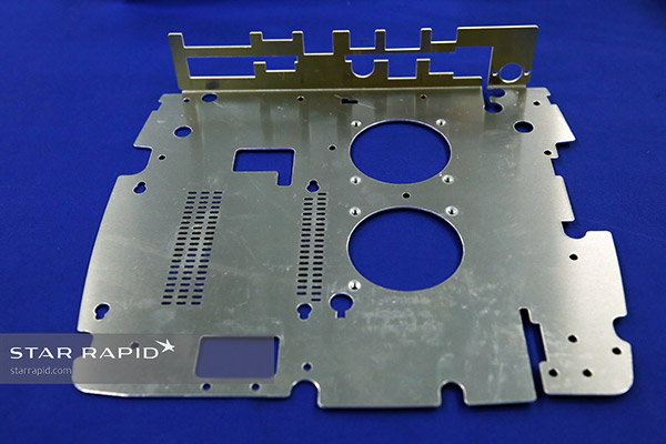 Laser-cut metal plate at Star Rapid