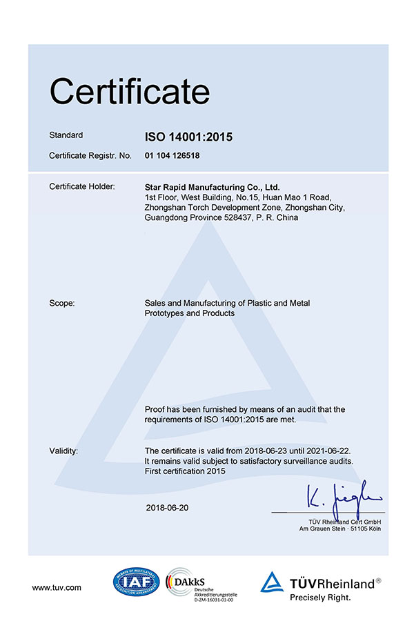 ISO 14001:2015 certificate at Star Rapid