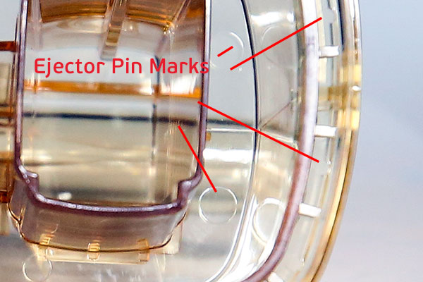 Ejector pin marks on Nedap part at Star Rapid