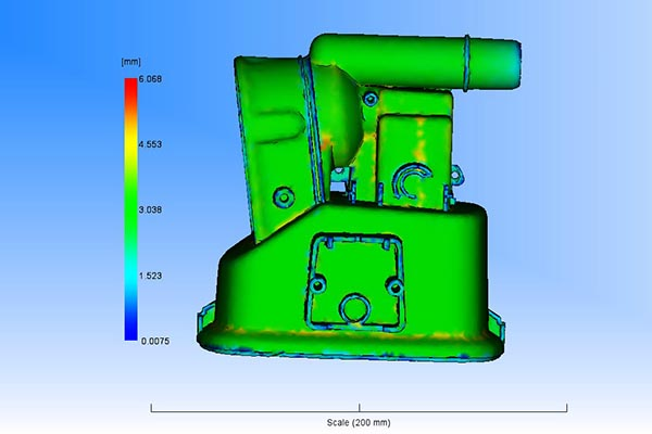 Moldflow wall thickness graphic from Star Rapid