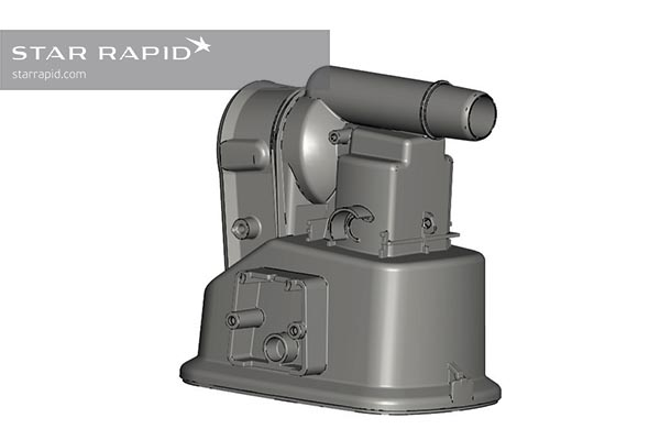 CAD image of finished nedap part, Star Rapid case study