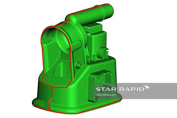 Parting line CAD image, nedap case study