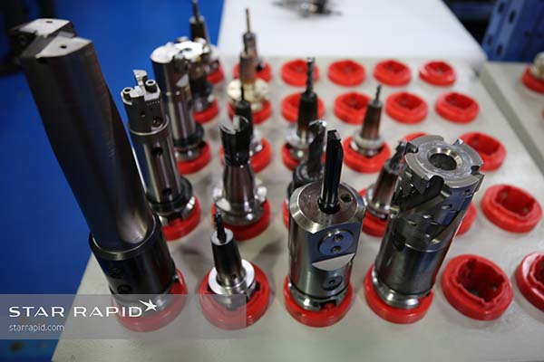 CNC mill cutters mounted on tool holders at Star Rapid
