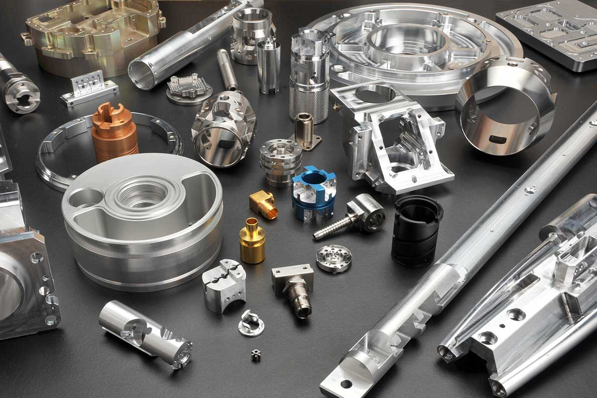 Collection of CNC milled parts from Evden