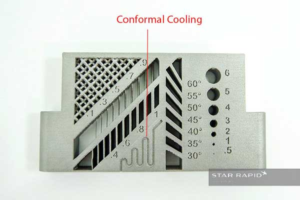 Detail of 3D conformal cooling channels