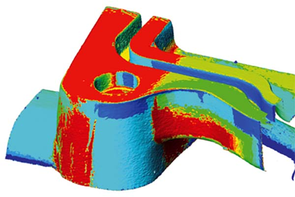 Digital heat map of likely porosity in pressure die casting
