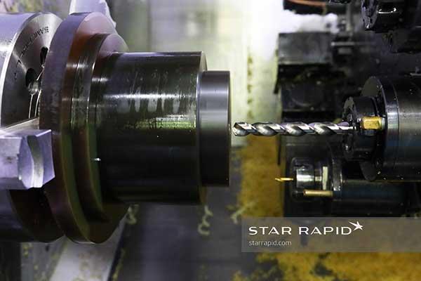 Ultem billet being CNC milled at Star Rapid