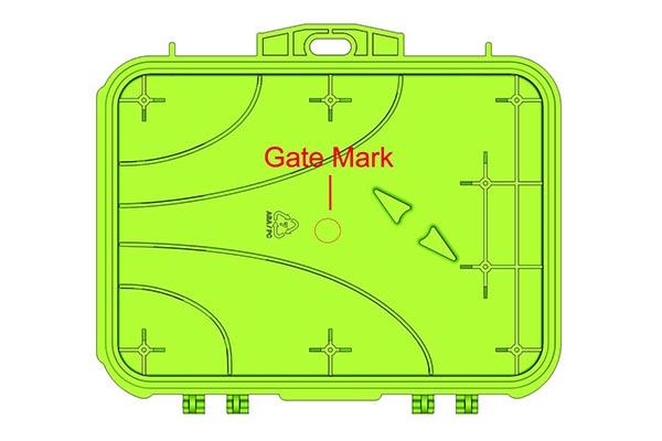 Detail of gate witness mark on box lid
