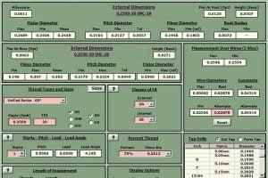 Main page of screw thread calculator program